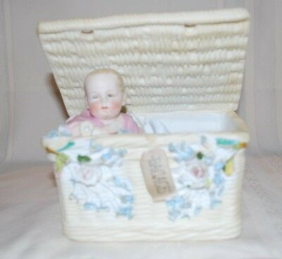 Antique German Bisque Piano Baby Figurine in Basket Flowers Heubach Lg Lovely
