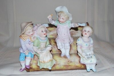Antique German Bisque Piano Baby Figurine Vase Children Choir Singing Lovely
