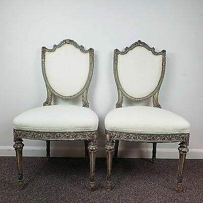 Pair of Ornate Early 20th C Louis XVI Side Chairs in W/ Green & Gold leaf