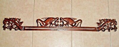 "Vintage Wood Carving - Chinese Style Fish & Floral 38"" long Mahogany/Rosewood"