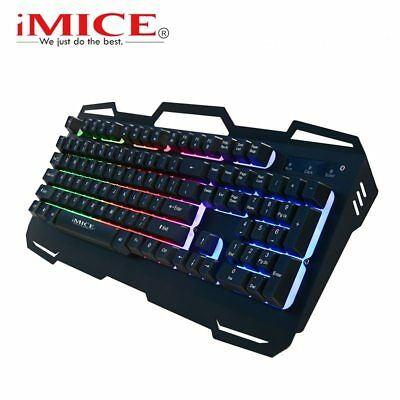 Wired Gaming Keyboard Mechanical Feeling 104 Keys Backlit Keyboards RBG Metal