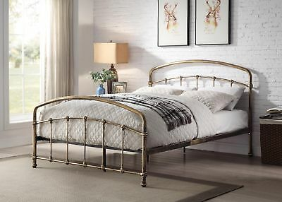 Ashley Luxury Antique Brass Copper Metal Bed Frame Industrial Style Various Size