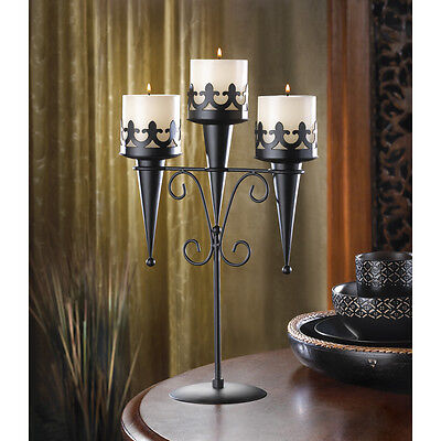 "Medieval Triple Candle Stand - 15 7/8"" High - Iron - Black"