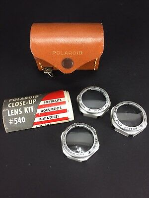 POLAROID CLOSE-UP LENS KIT #540 - Diopter Lenses Tape Measure Leather Case