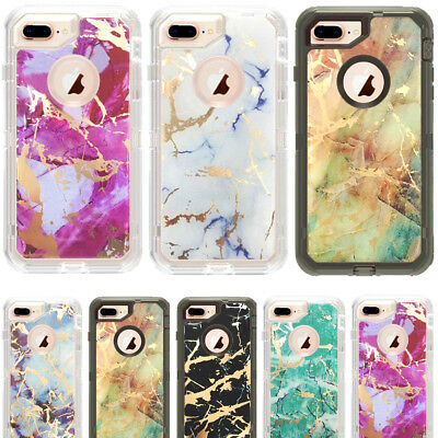 Marble Clear Defender Transparent Case For iPhone 8 Plus Fits With Otterbox Clip
