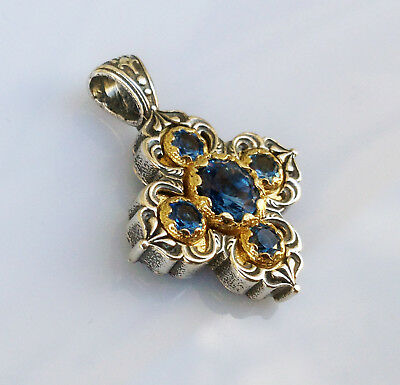 Antique Greek Byzantine Cross Pendant Aquamarine Cz 925 Sterling Silver C 12320