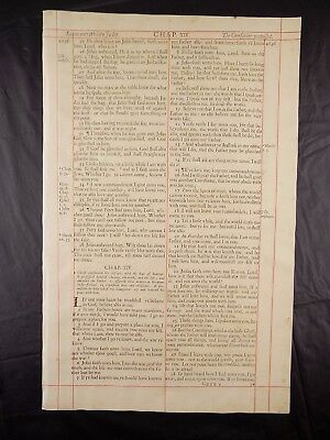 1680 Oxford First Folio King James Bible Leaf *john 14:6 I Am The Way& The Truth