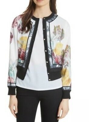 eef7da7188481 TED BAKER WHITE OLYVIAA Tranquility woven bomber jacket Size 8 (1) PRICE  REDUCED