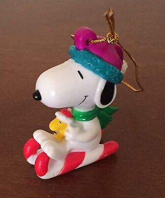 Snoopy & Woodstock on Sled Charlie Brown Peanuts PVC Christmas Ornament EUC