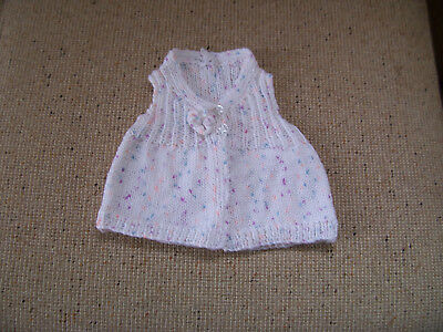 New Hand Knitted Baby Vest White Fleck  Newborn Reduced