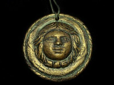 CHOICE TERRACOTTA ROMAN STYLE AMULET PENDANT with STRAP, REPLICA!!!