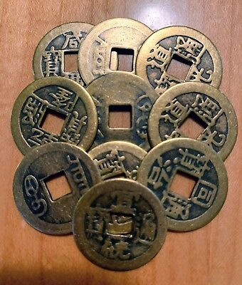 Collect 10 pieces Chinese Brass Coin Qing Dynasty Antique Vintage Currency Cash