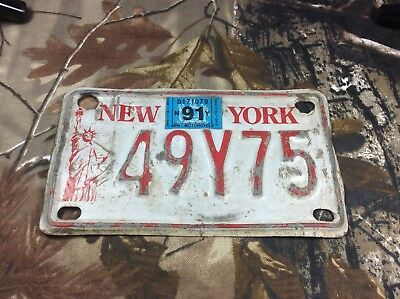 1991 NEW YORK NY 91 ATV License Plate 49Y75 STATUE OF LIBERTY Red Man Cave Decor