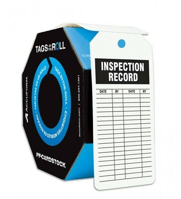 Tags By-The-Roll,Inspect Record,6-1/4x3 in,Cardstock,100/RL ACCUFORM TAR708