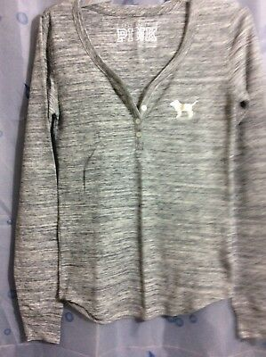 Victorias Secret Pink Thermal Henley Waffle Button Front SILVER DOG LOGO S  NWT 99421edba
