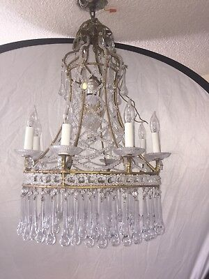 9 Lights Italian Venetian Beaded Chandelier With Glass Drops