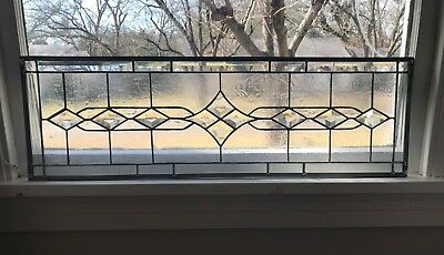 """Transom Stained Glass Window Panel w/Bevels -Clear , 32"""" x 10""""  Traditional"""