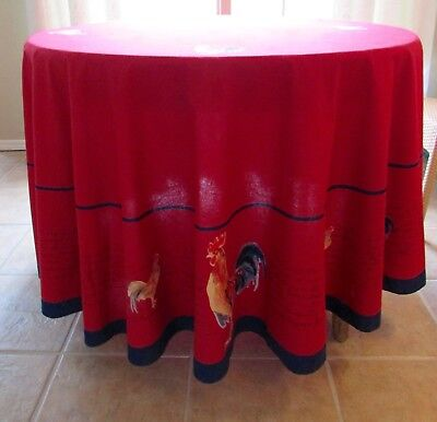 """Williams Sonoma French Country Red Rooster Round Cotton Tablecloth 92"""""""