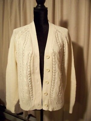 VINTAGE 90 S WOMEN S Cable Knit Cardigan 5 Button Sweater Size L ... b593ae18c