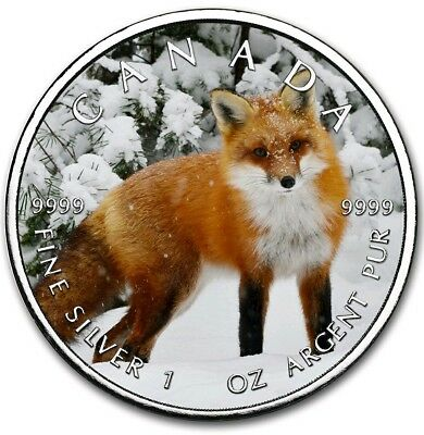 2019 1 oz Silver Color Coin RED FOX ON THE TRAILS OF WILDLIFE MAPLE LEAF