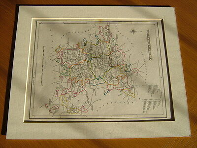 Antique Hand Coloured Map Of Worcestershire From Lewis' Topographical Dictionary