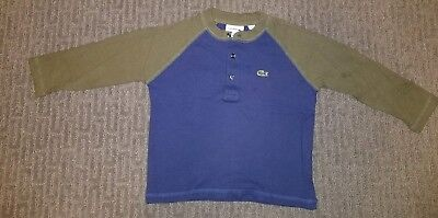 Lacoste Boys Size 2 Blue Baseball Henely T-shirt Perfect Condition!