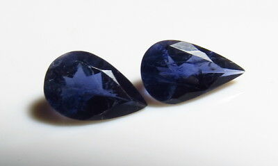 2pc BLUE IOLITE PEAR CUT FACETED LOOSE GEMSTONE LOTS cut from natural rough
