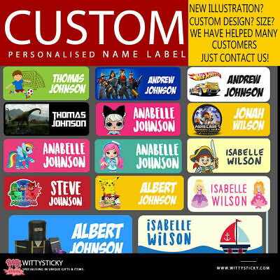 Personalised Kids Vinyl Name Labels - Drink Bottle Lunchbox School dishwashable
