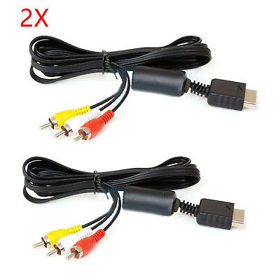 2PCS 6ft AV RCA Audio Video TV Cable Cord for PS2/PS3 Sony PlayStation 2 3 New