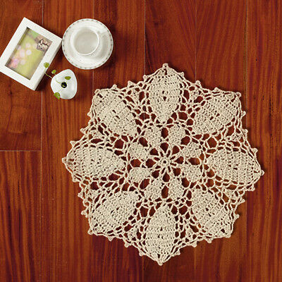 4Pcs/Lot Vintage Hand Crochet Doilies Round Cotton Lace Table Mats 25cm Pattern