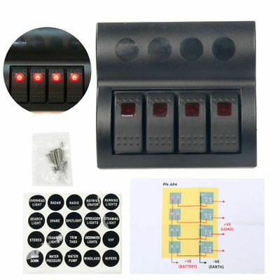 SALE! 4Gang Marine 12V Waterproof LED Rocker Switch Panel Circuit Breaker Car AU