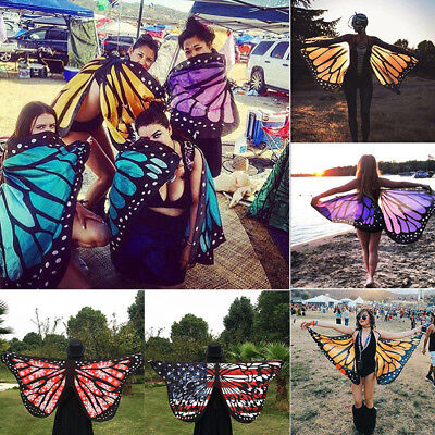 Colorful Soft Fabric Butterfly Wings Tippet Stole Scarf Ladies Fairy Costume Int