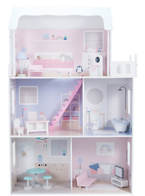 Traditional 3 Level Doll House Furniture Included Pink Girls Kids Dollhouse Toy