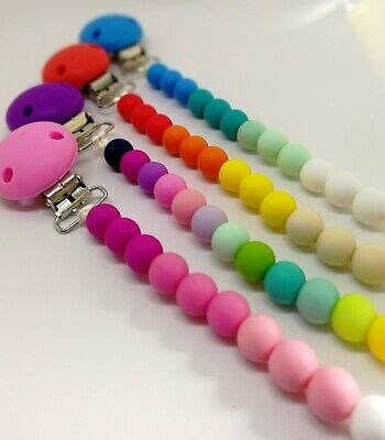 Silicone Pacifier Clip, Dummy clip chain, Pacifier teething baby clip, UK