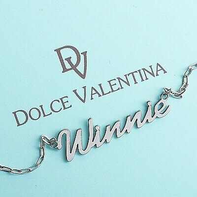 """Personalised Stainless Steel Any Name Necklace Nameplate 15"""" to 19"""""""