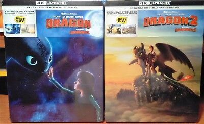 How To Train Your Dragon 1 & 2 [Steelbooks] [4K+Blu-ray+Digital] NEW - LAST SET!