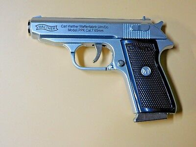 Silver Special Walther PPK Gun Shape Jet Torch Lighter With Spring Knife Clip