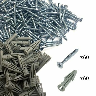 120 x Plasterboard Raw Plugs & Pozi Screws for Fixing to Dry Line Cavity Walls