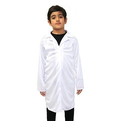 Kids White Scientist / Einstein / Doctor / Nurse / Fancy Dress Lab Coat Overalls