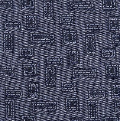 Textured Slate Blue Gold Geometric Woven Crypton Upholstery Fabric 0574280