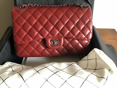 46773e23f822 CHANEL CLASSIC FLAP Bag In Dark Red Lambskin ( Large Size ) - EUR ...