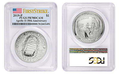 2019 P $1 Proof Silver Apollo 11 50th Anniversary PCGS PR70 DCAM First Strike