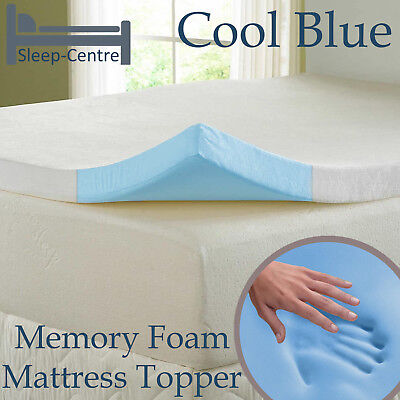 Cool Blue 3Ft Single Memory Foam Topper With Cooltouch Cover Choice Of Depth