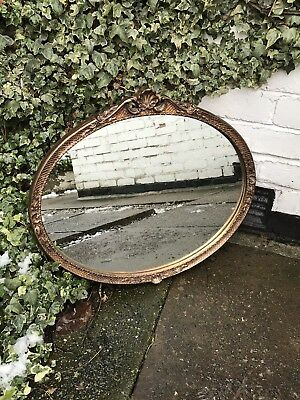 Bronze Framed Antique Mirror Art Deco Mirror Crested Looking Mirror Ornate
