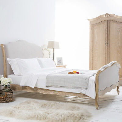 eGB51 - French Weathered Limed Oak Wooden Upholstered High Foot Board Bed