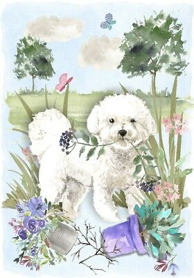 "Bichon Frise Dog A6 (4"" x 6"") Blank Card / Notelet Design By Starprint"