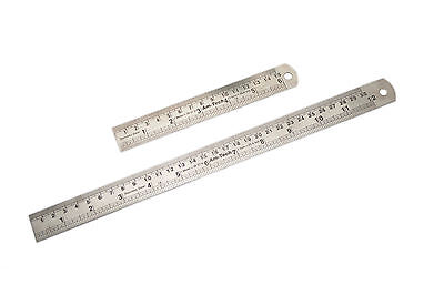 "2 Piece Steel Ruler Set 300mm (12"") & 150mm (6"") Amtech P5170 Metric Imperial"