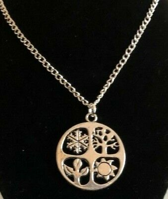"Four Seasons Wheel Of The Year Equinox Pagan Necklace Pendant 22 24 26"" Chain"