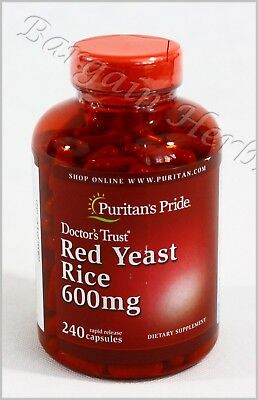 Puritan's Pride Red Yeast Rice 600mg 240 Capsules New Free Shipping Exp:10/22