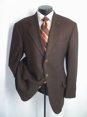 Loro Piana Fabric Brown Pattern 3 Buttons Wool & Cashmere Blend Coat Jacket 44 R